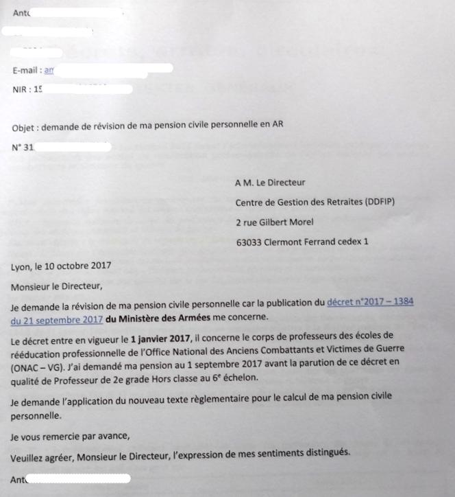 19 Courrier Demande Revision Pension Civile