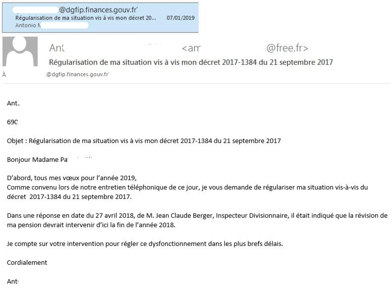 19 Email DGFIP Relance Regularisation Pension
