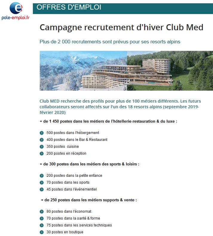 19 Pole Emploi Hiver Club Med